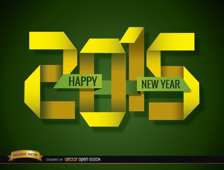 2015 papel dobrado feliz ano novo