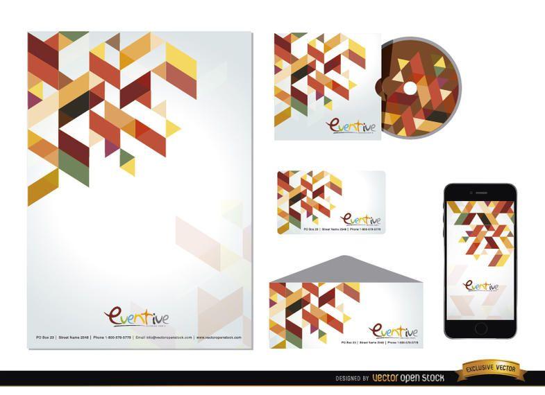 Papelería poligonal de diseño colorido.