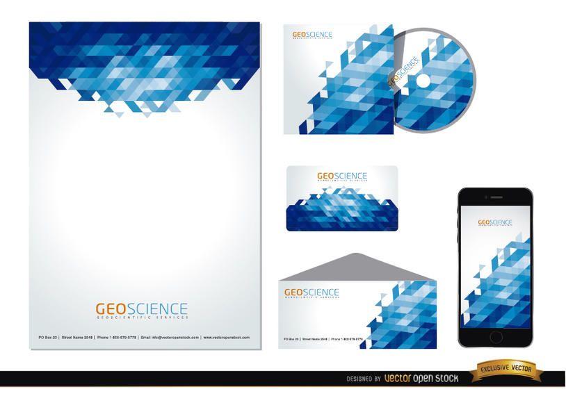 Papelaria azul abstrato design