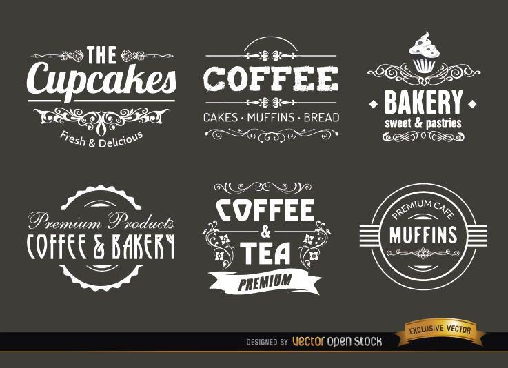 Café vintage etiquetas e emblemas