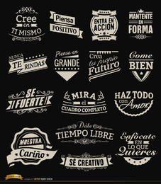 15 etiquetas vintage motivacionais emblemas espanhol