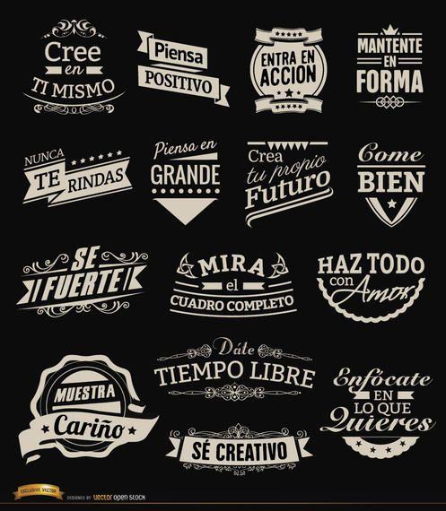 15 motivational vintage labels badges Spanish