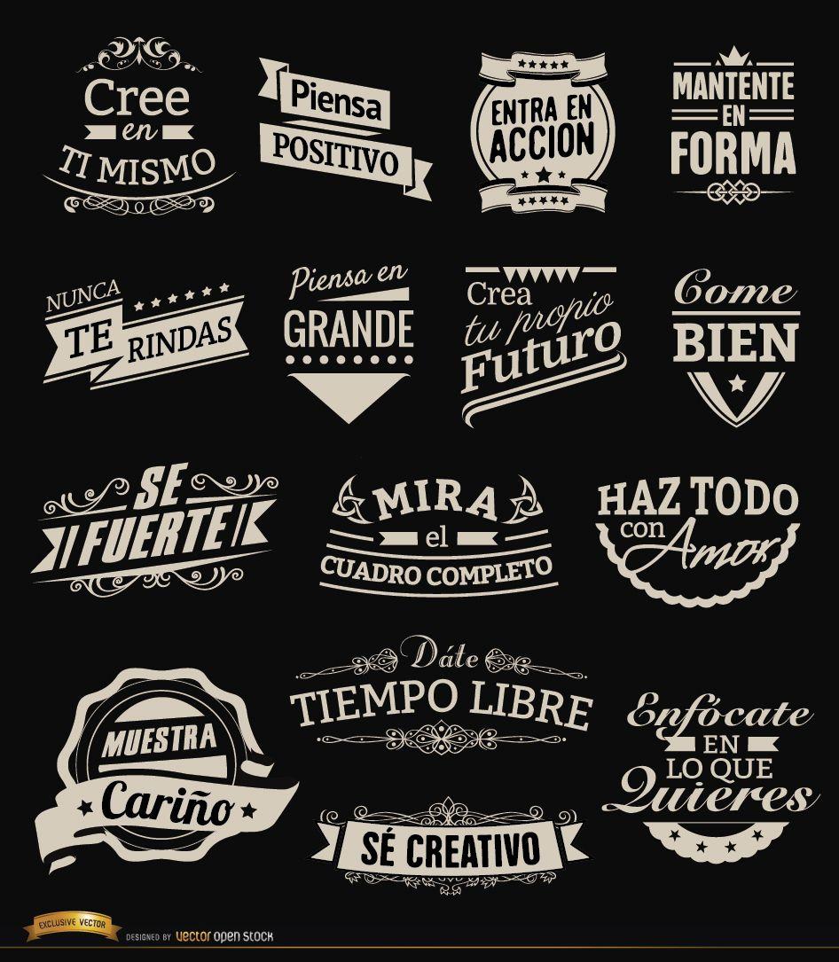 15 emblemas de etiquetas vintage motivacionais espanholas