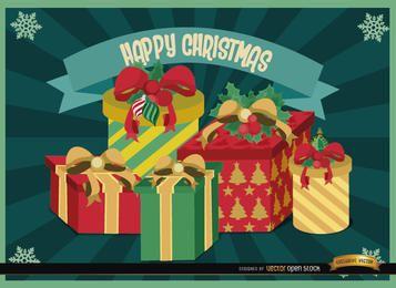 Fondo de rayas radiales de regalos de Navidad
