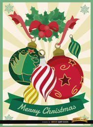 Fondo de muérdago de bolas de navidad