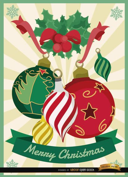 Christmas balls mistletoe background