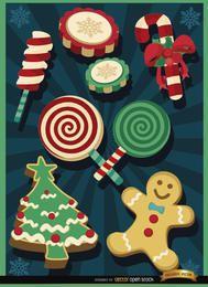 Elementos de doces de Natal