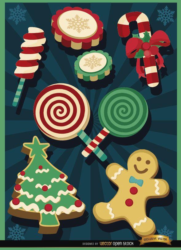 Elementos de dulces navideños