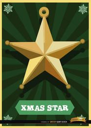 Tarjeta de la estrella de la Navidad