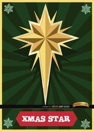 Tarjeta navideña estrella con rayas radiales.