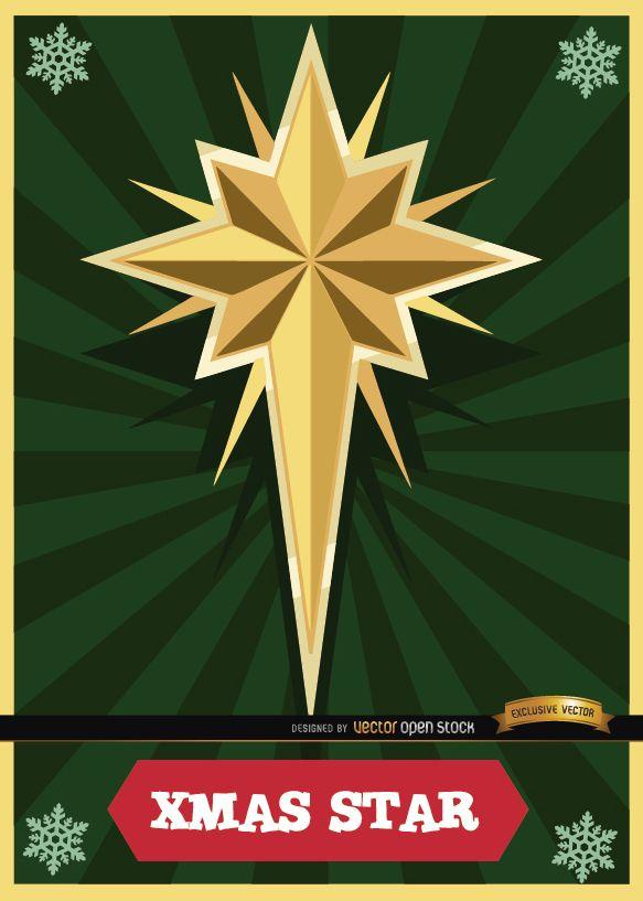 Christmas star card radial stripes