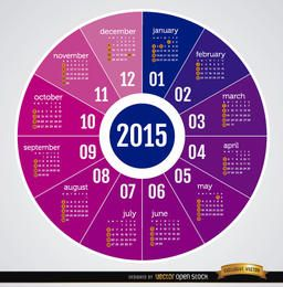Calendário redondo de 2015
