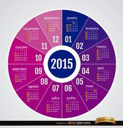 2015 Calendario redondo portugués