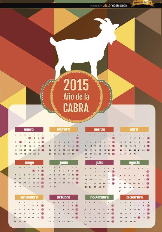 2015 Año del calendario de polígono de cabra Español