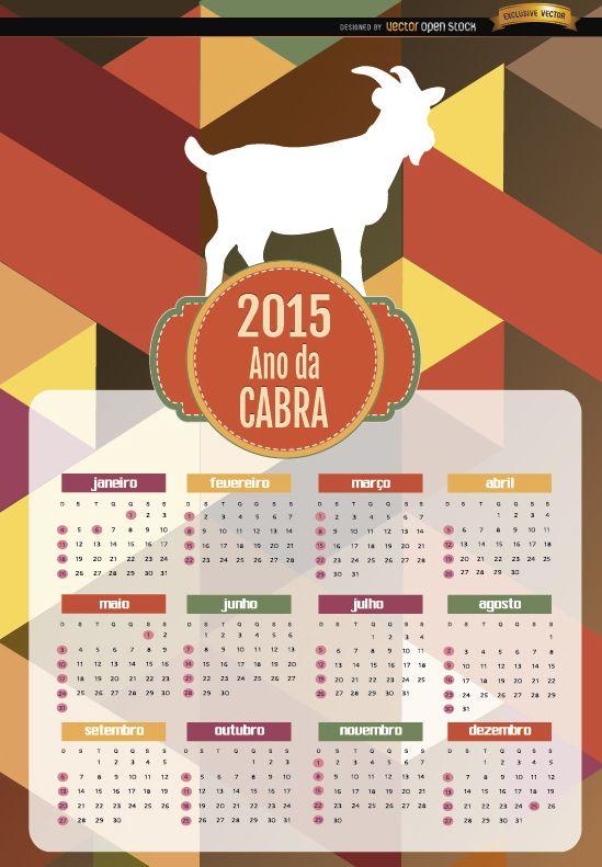 2015 año del calendario poligonal de cabra portugués