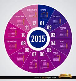 2015 runder Kalender Spanisch