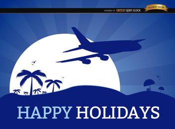 Vacaciones vacaciones fondo plano