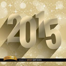 Fundo dourado de estrelas de 2015
