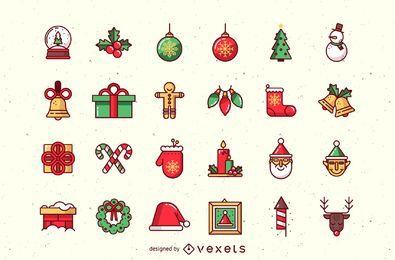 Belo pacote de ícones de Natal funky