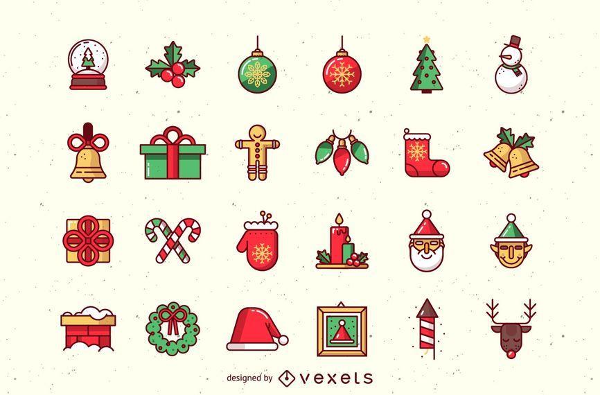 Hermoso paquete de iconos de Navidad Funky
