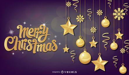 Bolas de Natal Bokeh brilhante sobre fundo roxo
