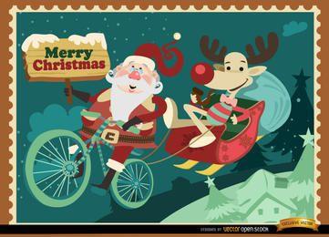Tarjeta de Navidad divertida del reno de Santa