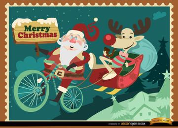 Tarjeta de Navidad divertida Santa Reno