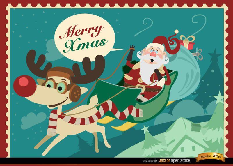 Santa Reindeer sledge Xmas design