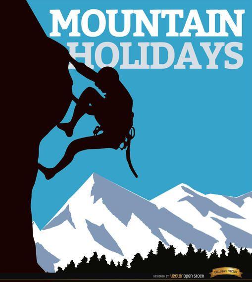 Cartaz de homem de escalada de montanha