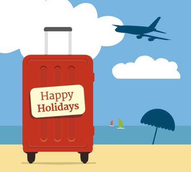 Vacaciones maleta playa fondo
