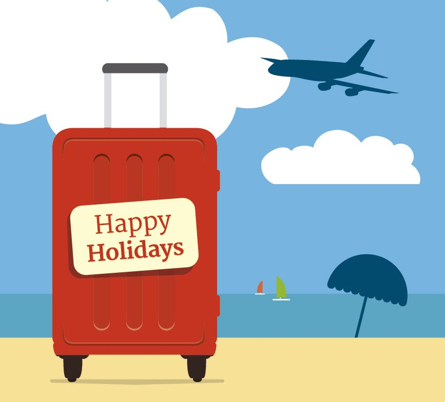 Vacations suitcase beach background