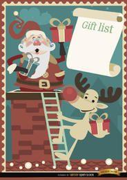 Design de lista de presente de rena de Santa