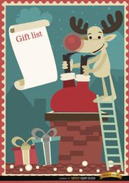 Santa Reindeer chimney gift list