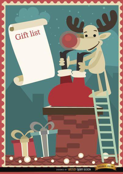 Santa Reindeer chimney gift list