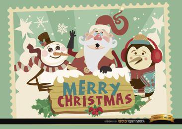 Papai Noel pinguim boneco de neve cartão de Natal