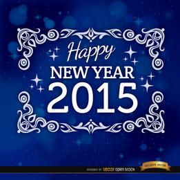 2015 blue floral frame background