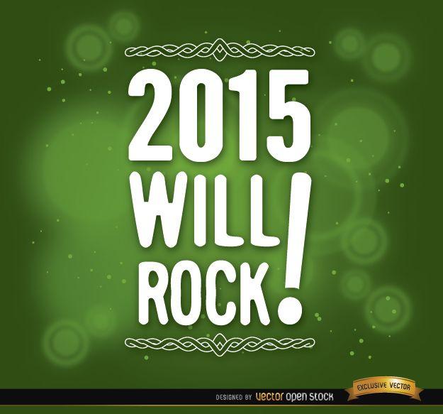 2015 mensagem fundo verde