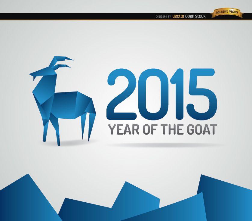 Fondo de año de cabra de origami azul 2015