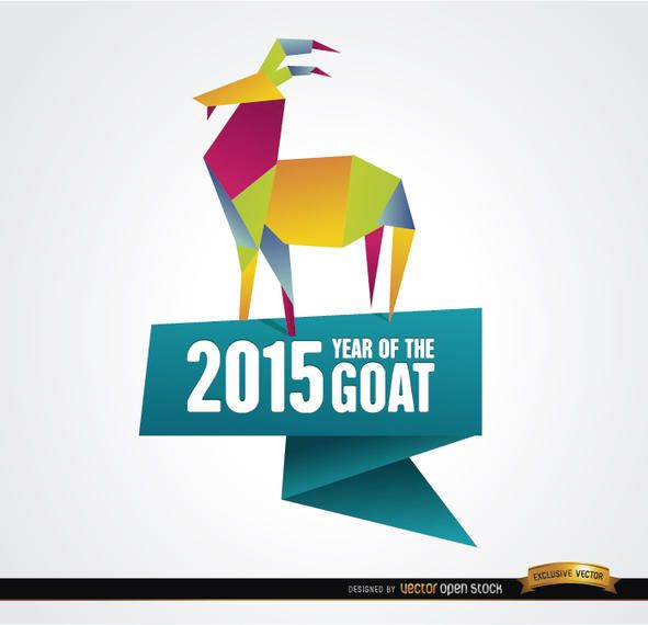 2015 Colorful Origami Year Goat Background Vector Download