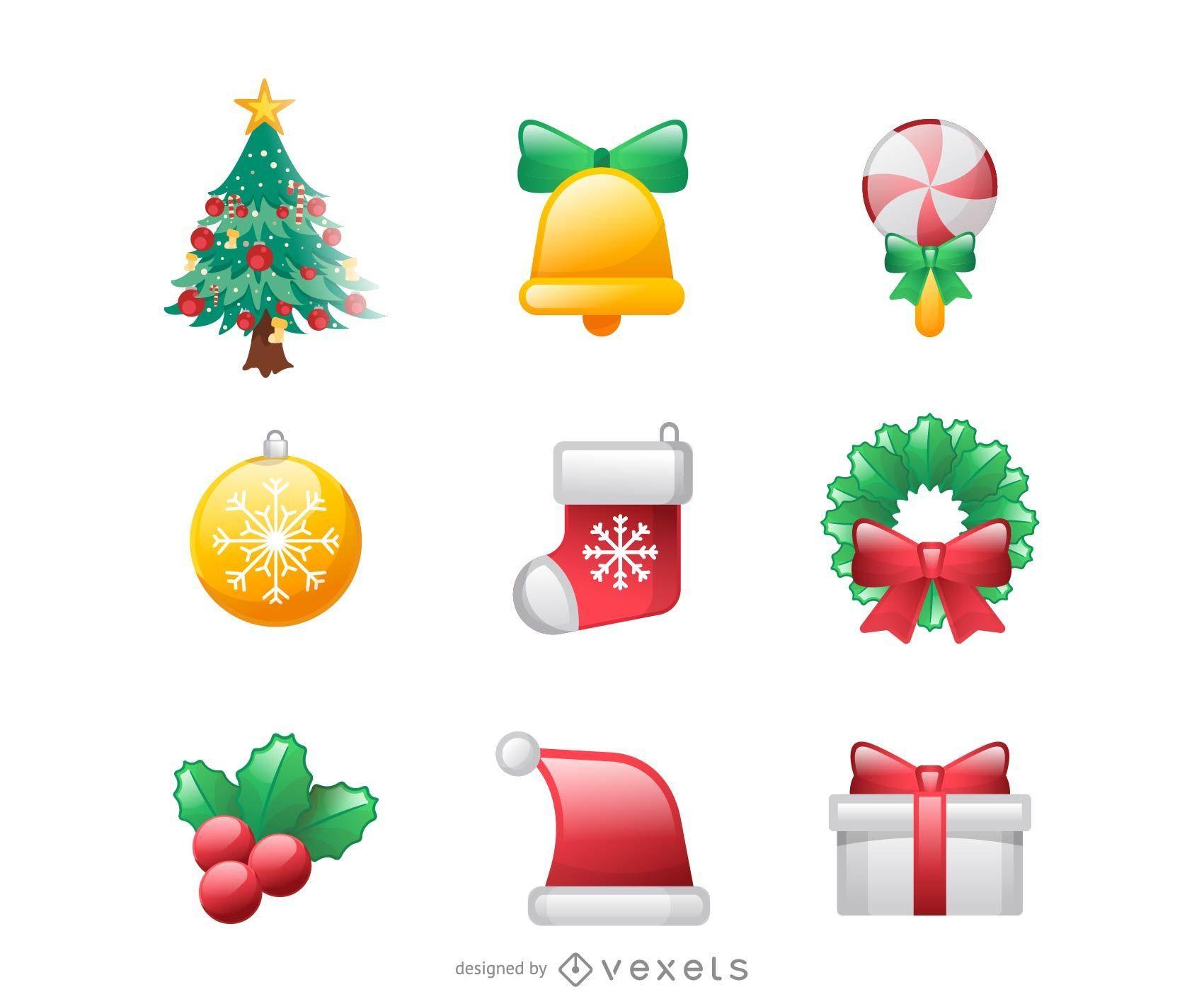 Conjunto de iconos de Navidad de estilo funky 3D