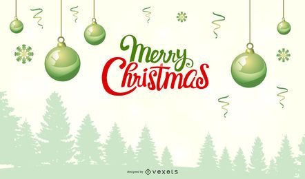 Fondo de Navidad nevado con adornos verdes