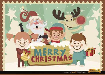 Fondo de personajes de dibujos animados de feliz Navidad