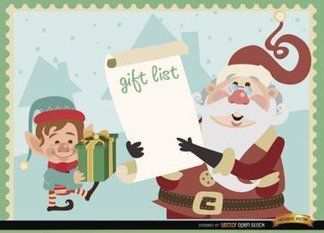 Fundo de lista de presente de elfo de Papai Noel