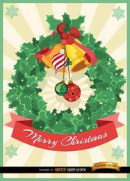 Cartão de enfeite de Natal visco