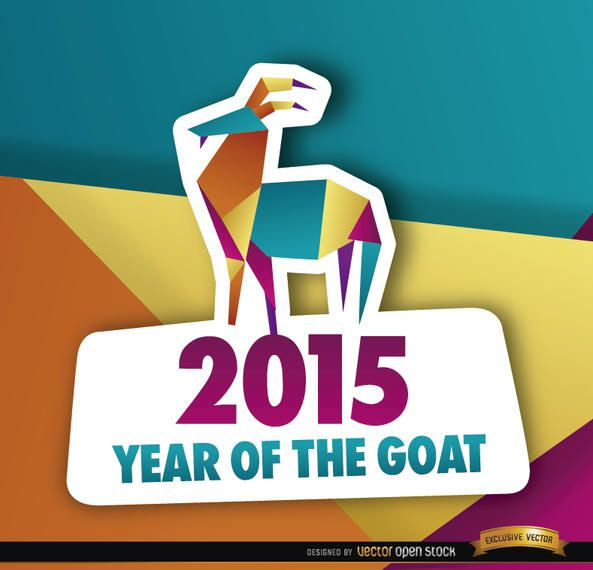 2015 colorful polygon year goat background