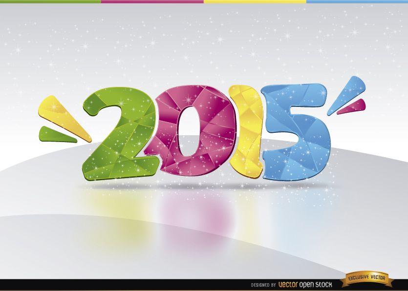 2015 número de color brilla Fondo