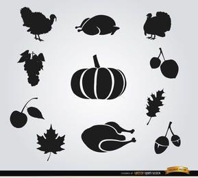 10 siluetas de comida de acción de gracias
