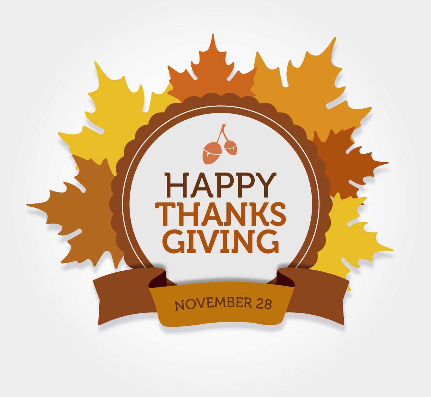 Feliz etiqueta redonda de acción de gracias