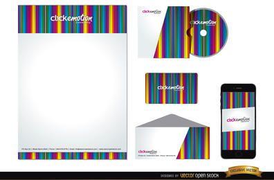 Pacote de identidade de negócios de barras coloridas