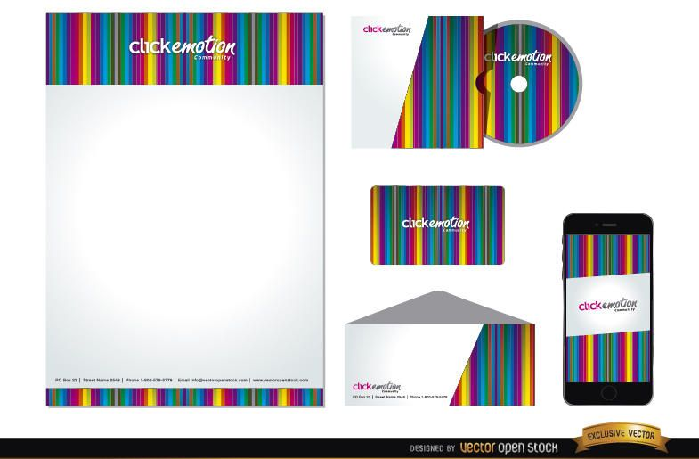 Colorful bars business identity pack